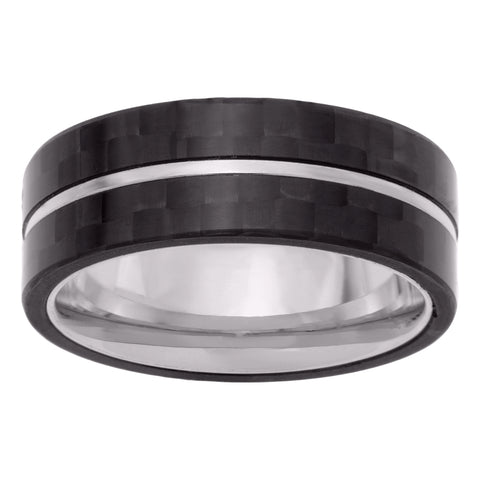 Image of Stainless Steel Ring with Forged Carbon Fiber