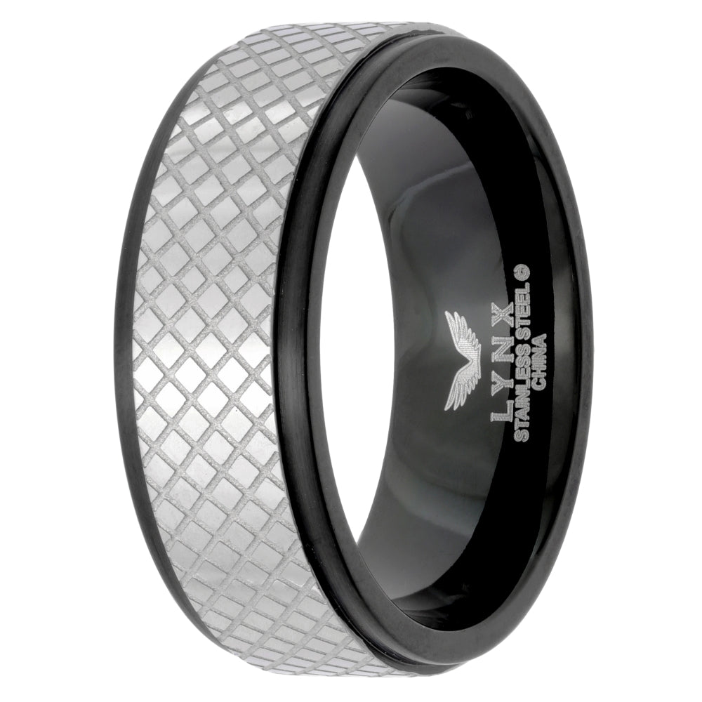 Stainless Steel Ring with Texture and Black Ion Plating