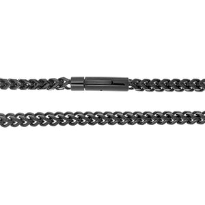 Stainless Steel Foxtail Chain Necklace with Black IP and Push Lock