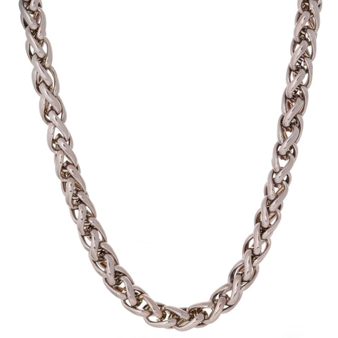 Stainless Steel Wheat Chain with Brown IP and Push Lock