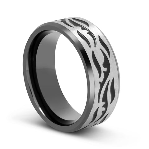 Image of Stainless Steel Etched Ring with Black Ion Plating