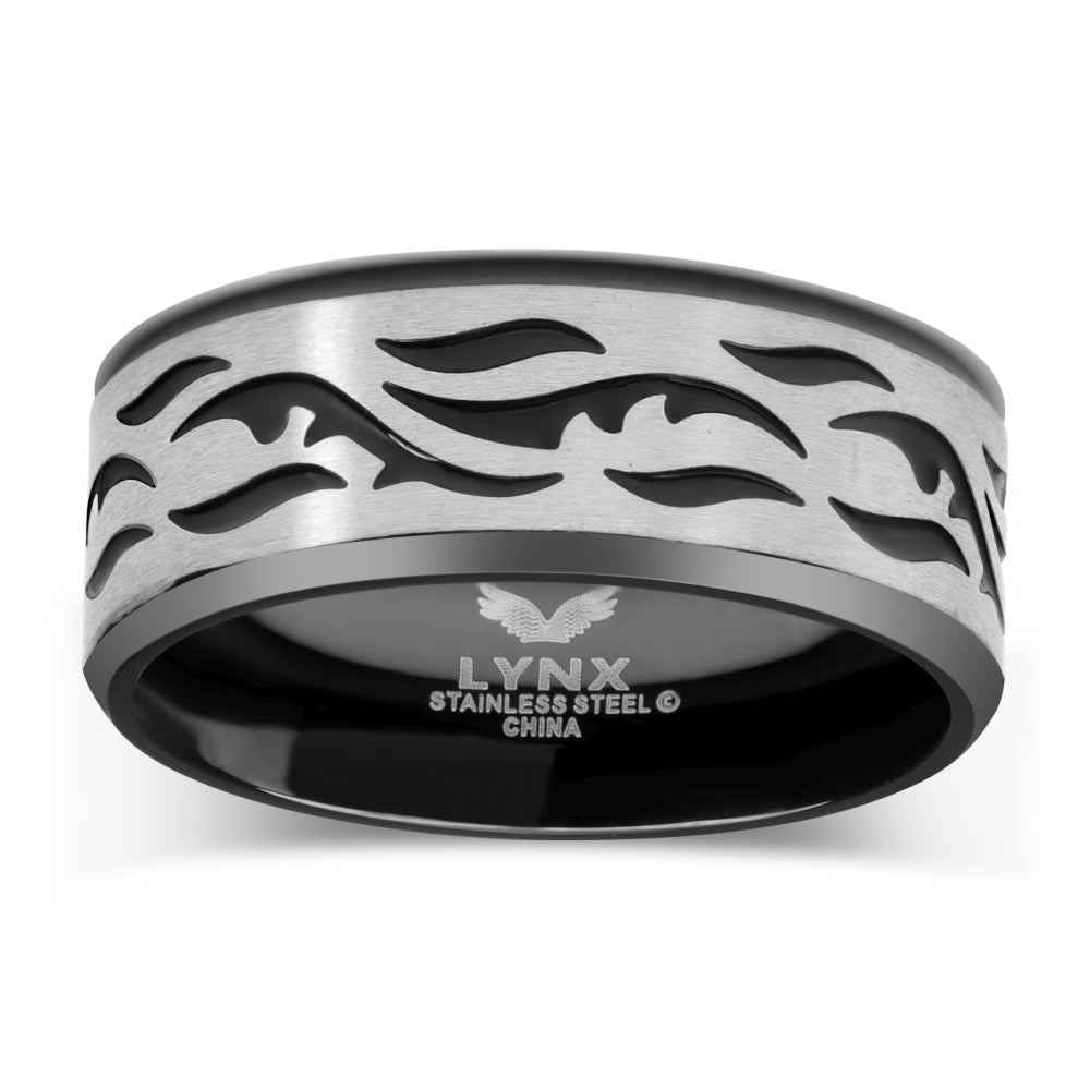 Stainless Steel Etched Ring with Black Ion Plating