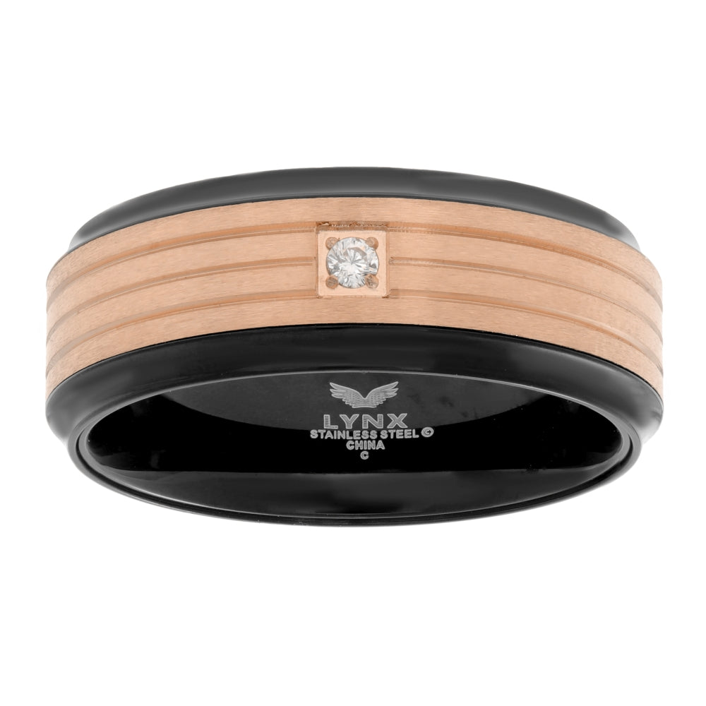 Stainless Steel Ring with Cubic Zirconium Accent and Black & Rose Ion Plating and
