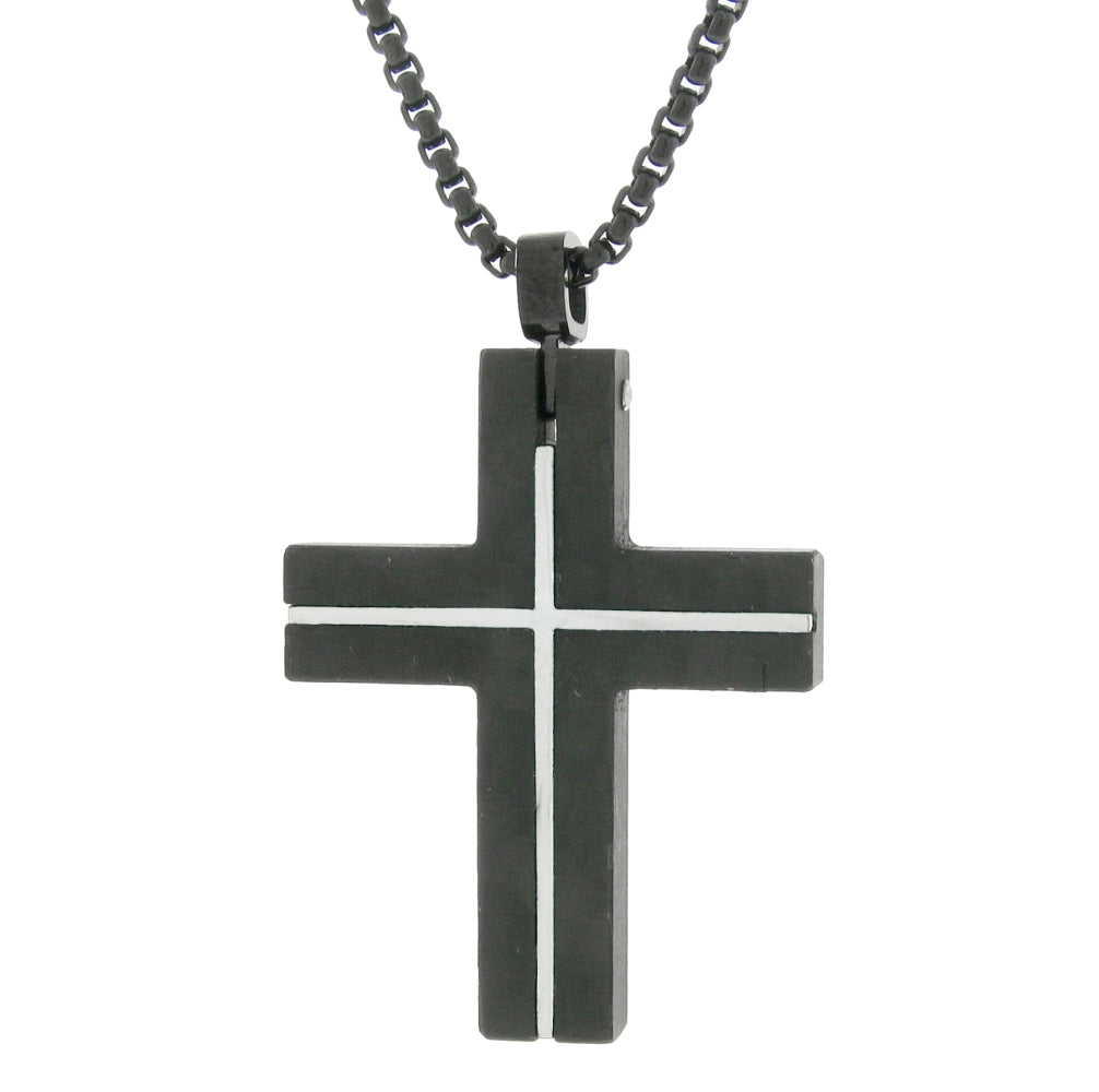 Stainless Steel Cross with Forged Carbon and Black Ion Plating on Round Box Chain