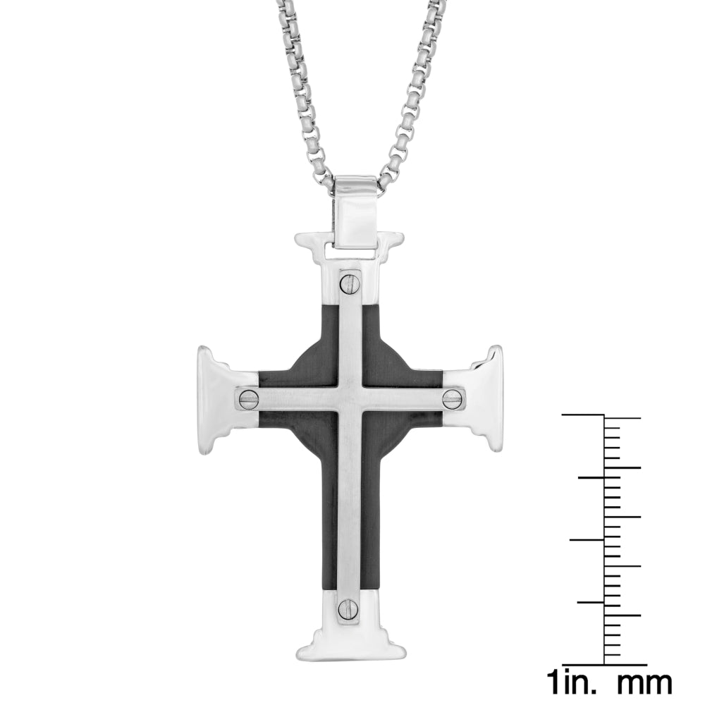 Stainless Steel Cross Pendant with Black Ion Plating on Round Box Chain