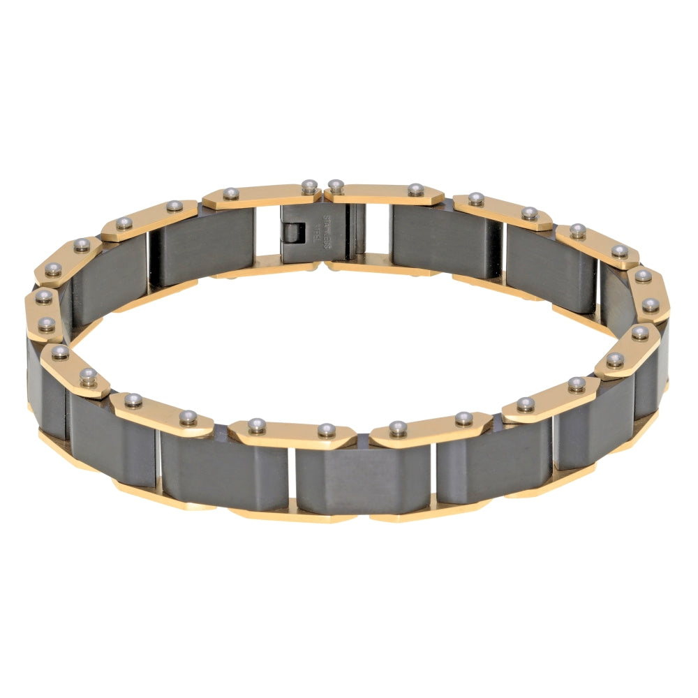 Stainless Steel Bracelet with Gold and Black Ion Plating and Lock Extender