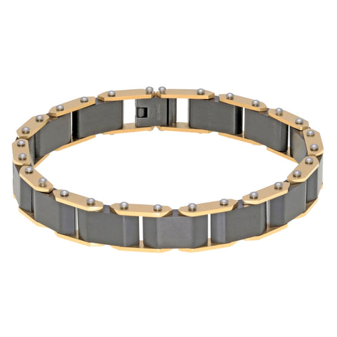 Image of Stainless Steel Bracelet with Gold and Black Ion Plating and Lock Extender