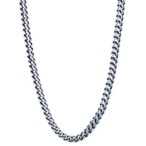 Stainless Steel Foxtail Necklace with Blue IP