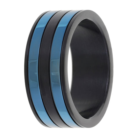 Stainless Steel 'BLM' Ring with Black & Blue IP