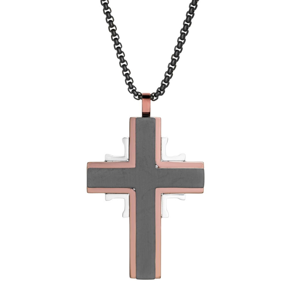 Stainless Steel Cross Pendant with Black and Rose Ion Plating on a Round Box Chain