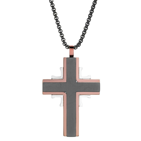 Image of Stainless Steel Cross Pendant with Black and Rose Ion Plating on a Round Box Chain
