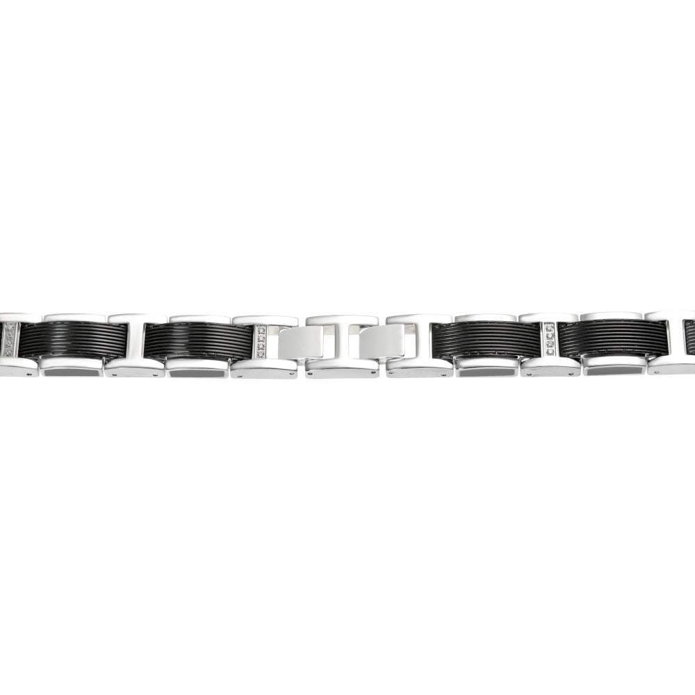 Stainless Steel Bracelet with Black Ion Plating & Black/Blue Resin, and Cubic Zirconium Accent