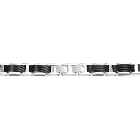 Image of Stainless Steel Bracelet with Black Ion Plating & Black/Blue Resin, and Cubic Zirconium Accent