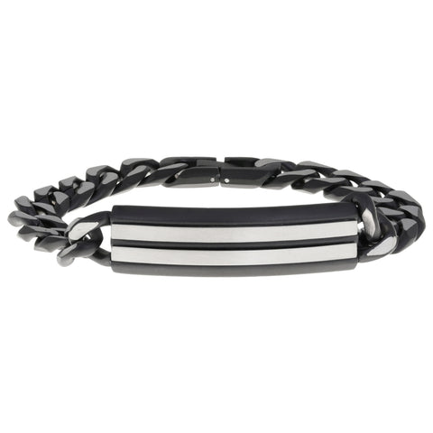 Stainless Steel ID Curb Chain Bracelet with Black IP