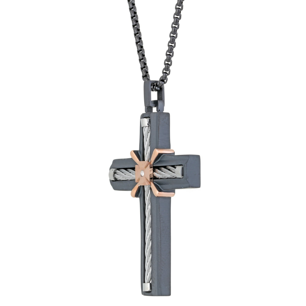 Stainless Steel Cross with Cable, Cubic Zirconium and Black & Rose Ion Plating