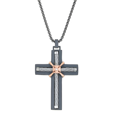Image of Stainless Steel Cross with Cable, Cubic Zirconium and Black & Rose Ion Plating