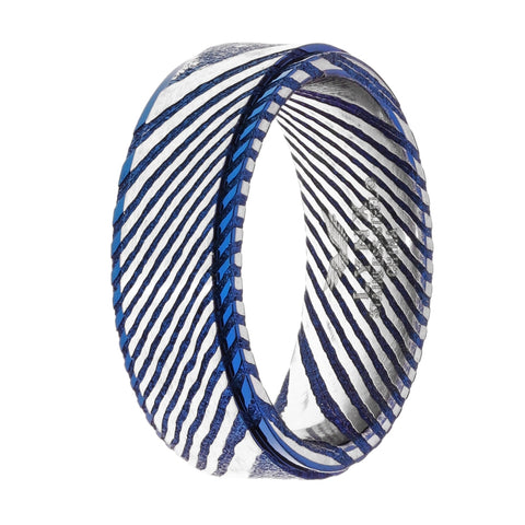 Image of Damascus Steel Ring with Blue Ion Plating
