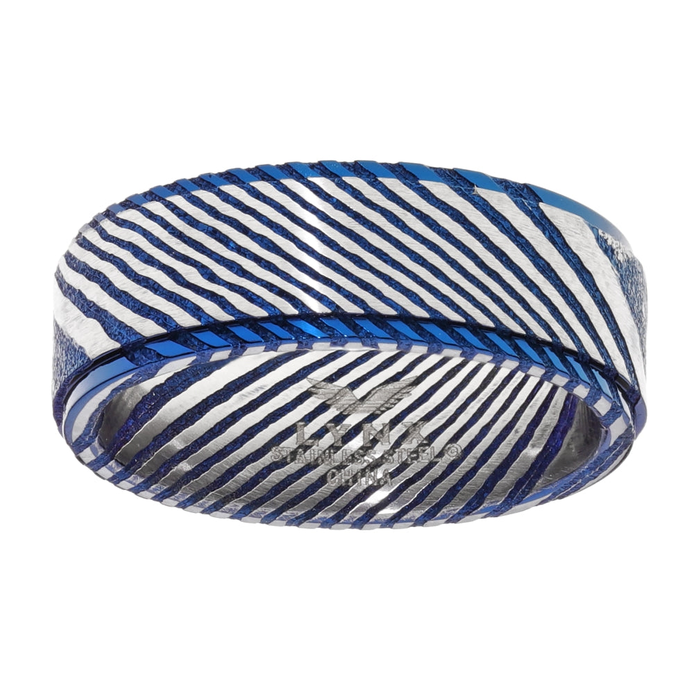 Damascus Steel Ring with Blue Ion Plating