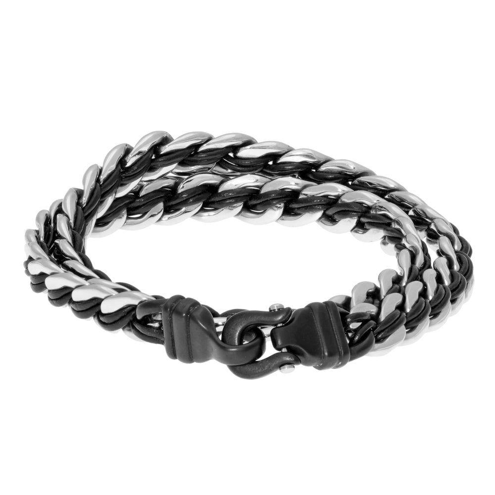 Stainless Steel and Black Leather Wrap Bracelet