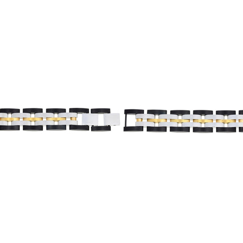 Image of Stainless Steel Bracelet with Black and Gold Tone Ion Plating