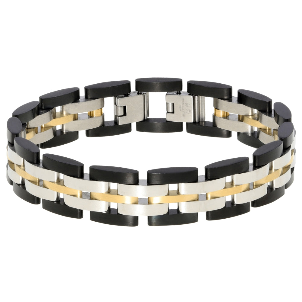 Stainless Steel Bracelet with Black and Gold Tone Ion Plating
