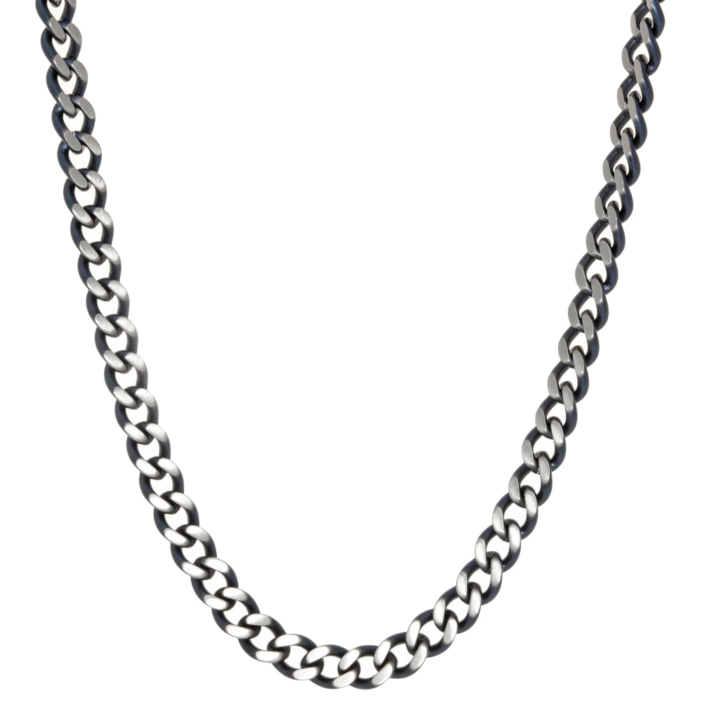 Stainless Steel Two Tone Necklace with gray Ion Plating