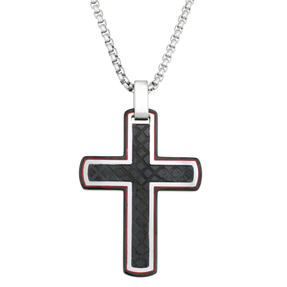 Stainless Steel Cross Pendant with Black Ion Plating and Red Resin