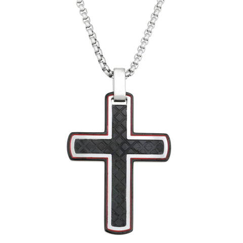 Image of Stainless Steel Cross Pendant with Black Ion Plating and Red Resin