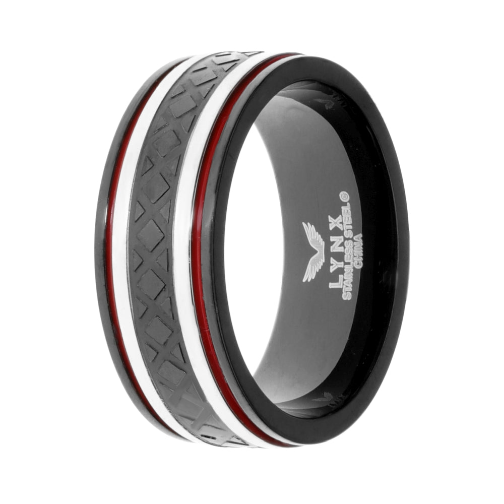 Stainless Steel Texture Ring with Black Ion Plating and Red Resin