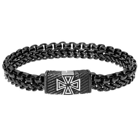 Stainless Steel Textured Maltese Cross Bracelet with Black Ion Plating
