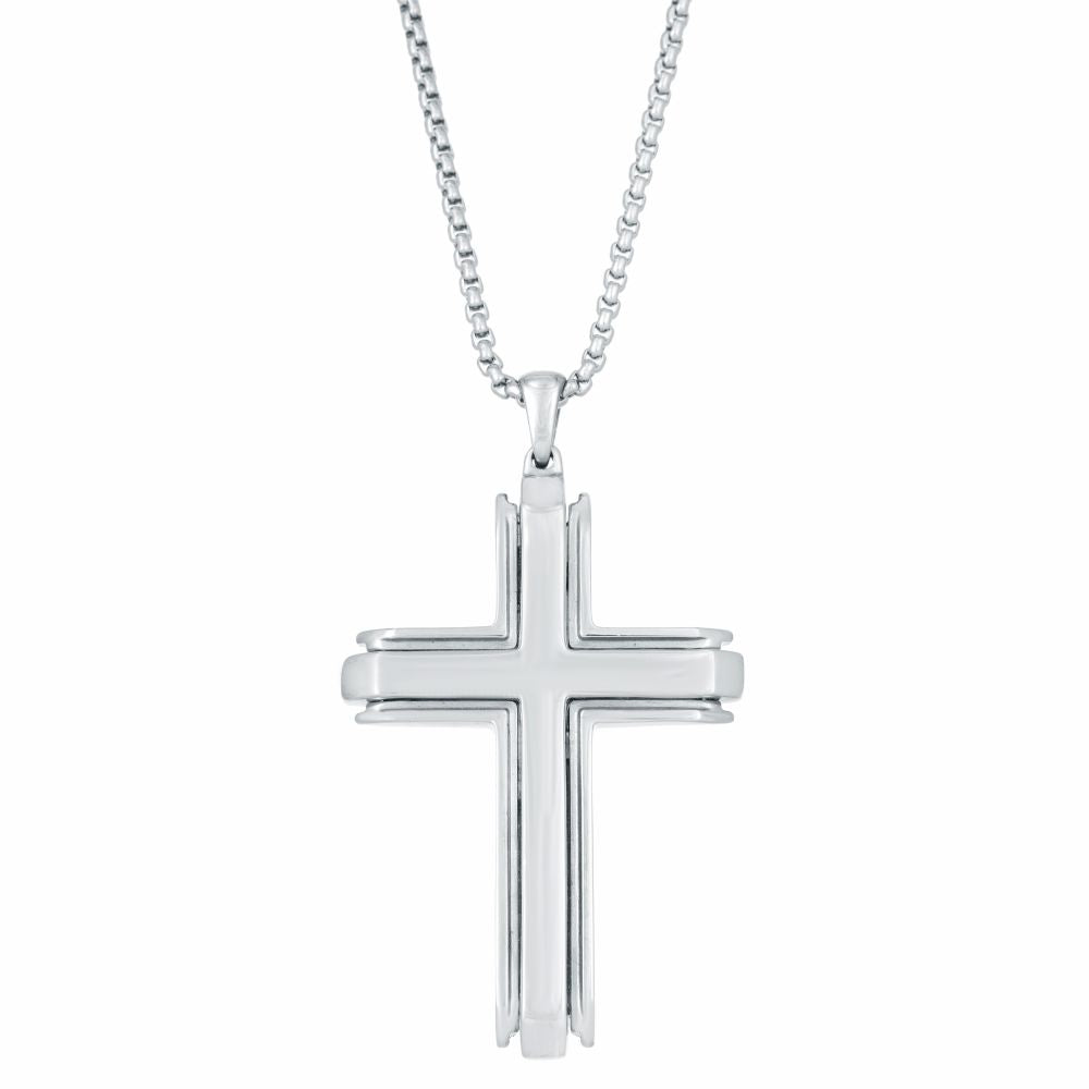 Stainless Steel Cross Pendant on Round Box Chain