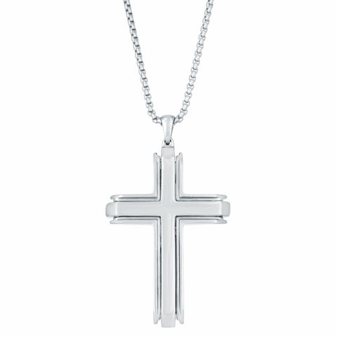 Image of Stainless Steel Cross Pendant on Round Box Chain