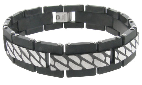 Stainless Steel Bracelet with Textured & Black Plating