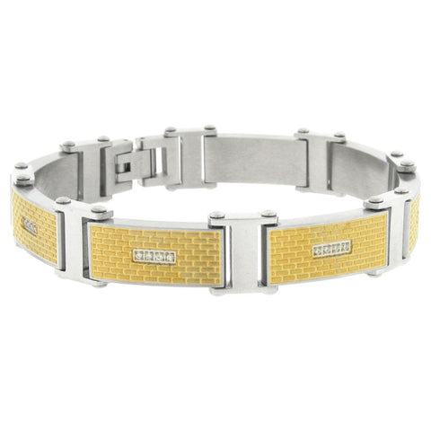 Stainless Steel Link Bracelet with Gold IP