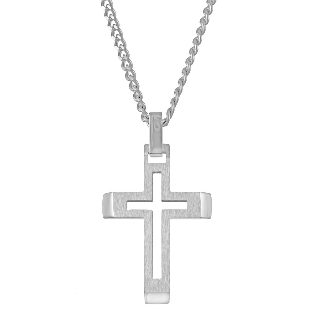 Stainless Steel Cross Pendant with Curb Chain