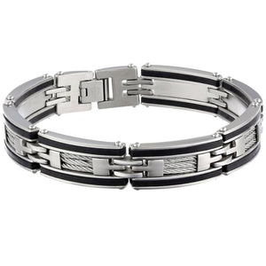Stainless Steel Link & Cable Bracelet with Rubber & Black Plating