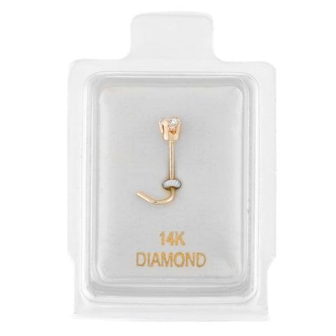 Diamond Accent Nose Ring Curve Stud in 14K Gold