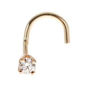 Diamond Accent Curve Stud Nose Ring in 14K Gold
