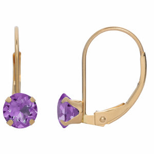 Round Gemstone Drop Earrings in 10K Yellow Gold