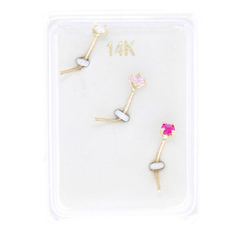 14K Gold 2mm White Pink Red Cubic Zirconium Nose Ring Set