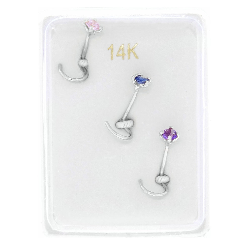 Multi Color Created Sapphire Nose Ring Set in 14K White Gold