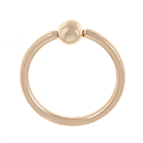 Captive Bead Hoop Nose Ring in 14K Gold
