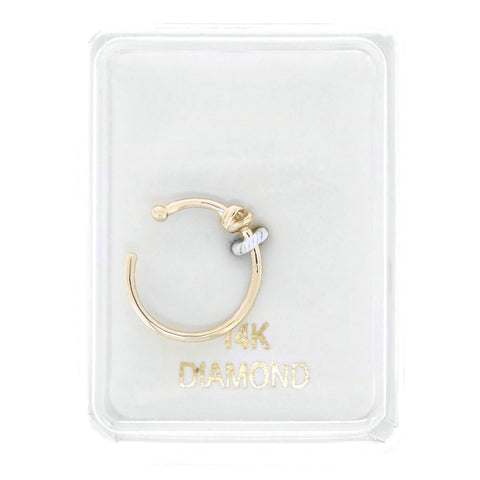 14K Yellow Gold 1.3mm .01 cttw Diamond Open Hoop Nose Ring