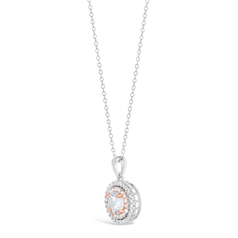 Image of Cubic Zirconium Circle Halo Pendant in Two Tone Sterling Silver