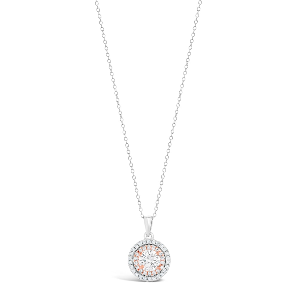 Cubic Zirconium Circle Halo Pendant in Two Tone Sterling Silver