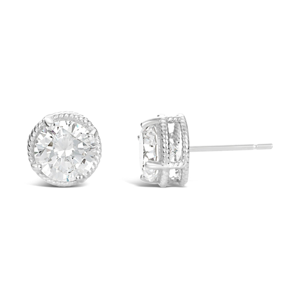 Cubic Zirconium Round Solitaire Stud Earrings in Sterling Silver