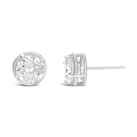Image of Cubic Zirconium Round Solitaire Stud Earrings in Sterling Silver