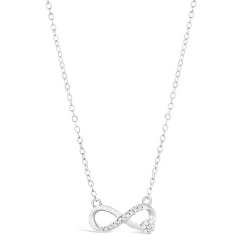 Image of Cubic Zirconium Infinity Flower Pendant in Sterling Silver