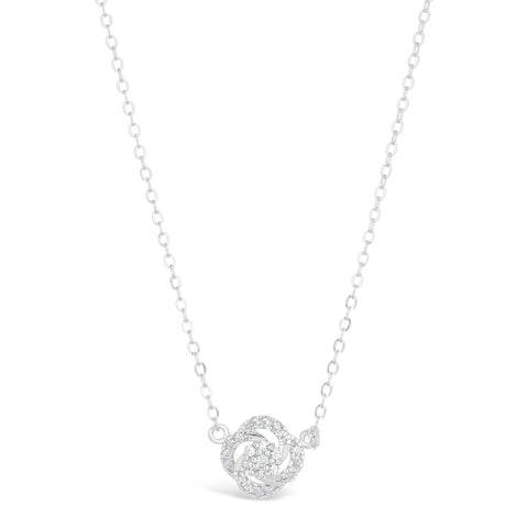 Image of Cubic Zirconium Flower Pendant in Sterling Silver