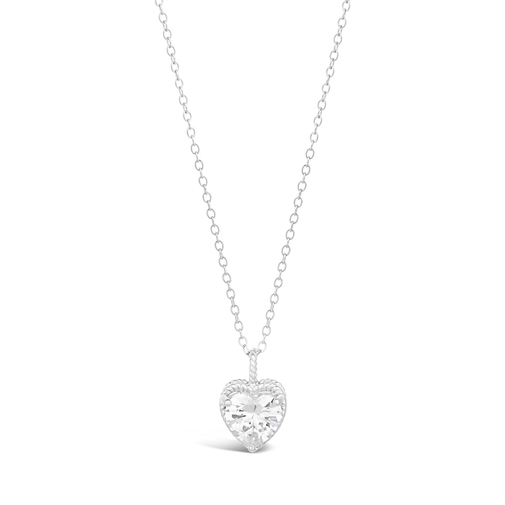 Cubic Zirconium Hammered Solitaire Pendant in Sterling Silver